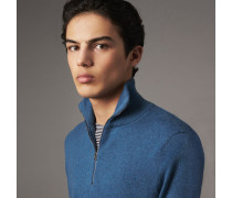 Pullover aus Kaschmir und Baumwolle mit Reißverschluss am Kragen
