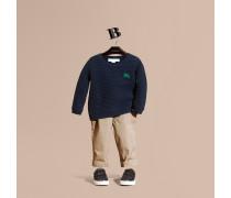 Baumwollpullover im Waffelstrickdesign