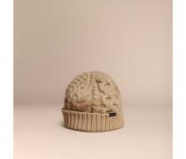 Beanie aus Wolle und Kaschmir in Aran-Strick