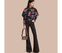 Bluse aus einer Fil Coupé-Seidenmischung mit floralem Muster und Cape-Detail