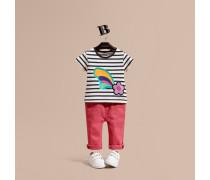 Gestreiftes Baumwoll-T-Shirt mit Grafikdruck und floraler Applikation