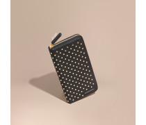 Brieftasche aus Leder mit umlaufendem Reißverschluss und Ziernieten