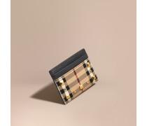 Kartenetui aus Leder und Haymarket Check-Gewebe mit Ziernieten