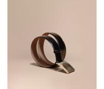 Ledergürtel in Zaumzeug-Optik mit polierter Plakettenschnalle