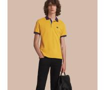 Poloshirt aus Baumwollpiqué in Zweitonoptik mit Knopfleiste im Karodesign