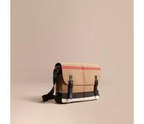 Große Messenger-Tasche aus Canvas Check-Gewebe mit Lederbesatz