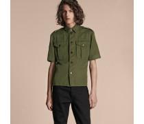 Kurzärmeliges Hemd aus Ramie und Baumwolle im Military-Stil