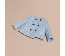 Kragenlose Steppjacke aus einer Baumwollmischung im Streifendesign