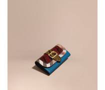 Brieftasche im Kontinentalformat aus Natternleder und House Check-Gewebe