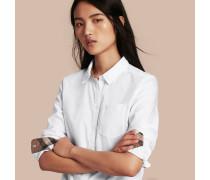 Bluse aus Baumwolle mit Check-Detail
