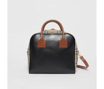 """Mittelgroße Tasche """"Cube"""" aus Leder und Vintage Check-Gewebe"""