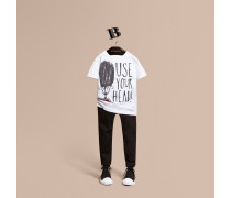 "T-Shirt aus Baumwolle mit ""Use Your Head""-Motiv"