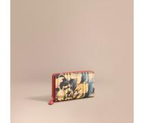 Brieftasche in Haymarket Check mit Pfingstrosenmotiv, Lederbesatz und umlaufendem Reißverschluss