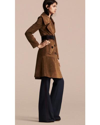 burberry damen zweireihiger mantel aus veloursleder. Black Bedroom Furniture Sets. Home Design Ideas