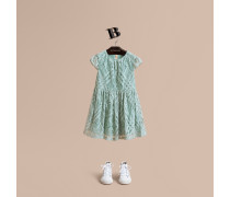 Kleid aus Spitze im Karodesign und Flügelärmeln