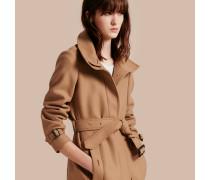 Mantel aus Wolle, Kaschmir und technischer Faser mit Trichterkragen