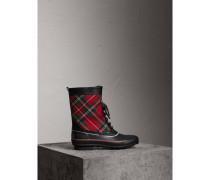 Regenstiefel im Schottenmusterdesign mit Schnürverschluss