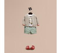 Shorts aus Baumwolle und Leinen mit Knopfdetail