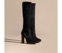 Kniehohe Stiefel aus Veloursleder mit Plateauabsatz und Steppnahtdetail