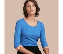 T-Shirt aus Stretchbaumwolle mit Karodetail und Dreiviertelärmel