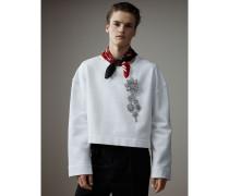 Kurzes Baumwoll-Sweatshirt mit Kristallbrosche