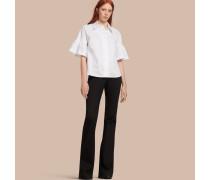 Bluse aus Stretchbaumwolle mit Rüschenärmeln