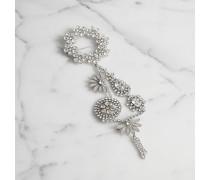 Kristallbesetzte Chandelier-Brosche mit Gänseblümchen- und Kettendetail