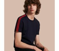 Baumwoll-T-Shirt mit Streifenmuster an der Schulter