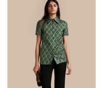 Jacquard-gewebte Bluse in Check mit kurzen Ärmeln