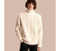 Pullover aus Kaschmir mit Zopfmuster und Trichterkragen