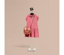 T-Shirt-Kleid aus einer Baumwollmischung mit Knopfleiste im Karodesign