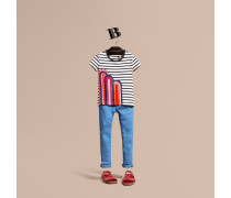 Gestreiftes Baumwoll-T-Shirt mit Regenbogenapplikation