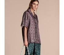 Kurzärmelige Seidenbluse im Pyjamastil mit geometrischem Kachelmuster