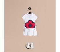 Hemdkleid aus Baumwolle mit floraler Applikation