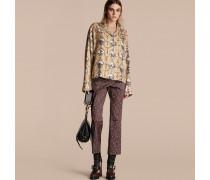 Hose aus Baumwolle mit kürzerer Beinlänge und geometrischem Kachelmuster