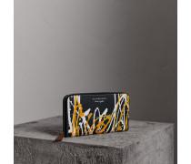 Brieftasche aus Trench-Leder im Farbklecks-Design
