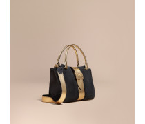 The Medium Buckle Tote aus Veloursleder und Natternleder