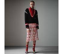 Pullover aus Wolle und Kaschmir in Kricket-Optik mit Häkelausschnitt