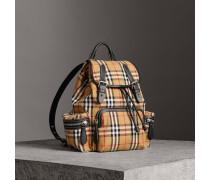 The Medium Rucksack aus Vintage Check-Gewebe und Leder