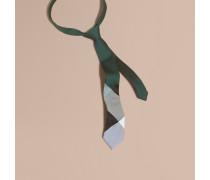 Schmal geschnittene Krawatte aus Seide und Baumwolle mit Karomuster