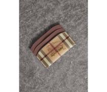 Kartenetui aus Haymarket Check-Gewebe mit Lederbesatz