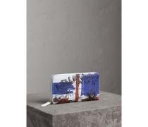 Brieftasche aus beschichtetem Canvas mit Doodle-Motiv und umlaufendem Reißverschluss
