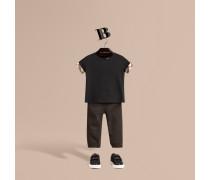 Baumwoll-T-Shirt mit Check-Bündchen