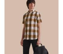 Kurzärmeliges Hemd aus Baumwolle und Leinen mit extragroßem Vichy-Muster