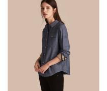 Jeansbluse mit Karodetail