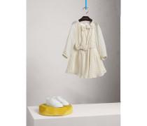 Kleid aus Seidenkrepon mit Punktmuster und Schleifendetail