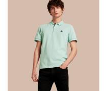 Poloshirt aus Baumwollpiqué mit bestickter Knopfleiste im Karodesign