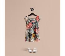 Seidenkleid mit floralem Druckmotiv in Pinselstrichoptik und Rüschendetail