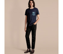 Baumwoll-T-Shirt mit Pfingstrosenmotiv an der Tasche