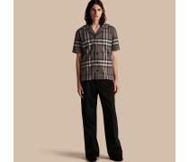 Kurzärmeliges Baumwollhemd im Pyjamastil mit Check-Muster